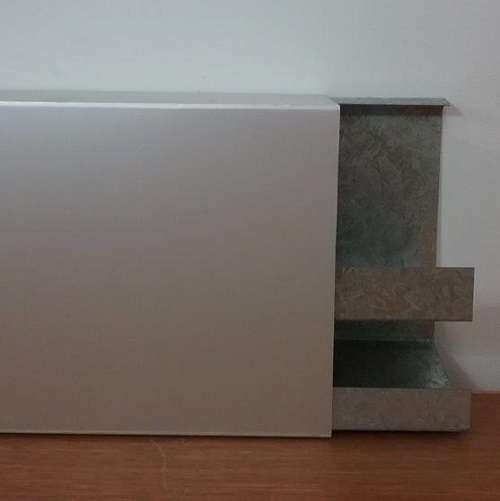 Steel Body & Aluminium cover 2 channel Duct - Front view